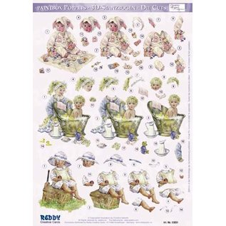 3D punching sheet baby for 3 baby cards