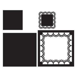 Marianne Design Plantilla de corte y estampado: cuadrado Passe-partout, CR1240