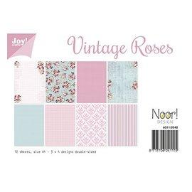 SET de papel A4, diseño vintage rosas