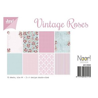 SET di carta A4, design rose vintage