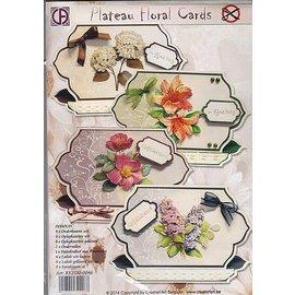 BASTELSETS / CRAFT KITS Completa KartenSET per 4 bellissime carte fiore