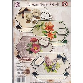 BASTELSETS / CRAFT KITS Complete kaartenset voor 4 mooie bloemenkaarten