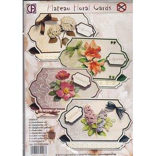 BASTELSETS / CRAFT KITS Komplet KartenSET til 4 smukke blomsterkort