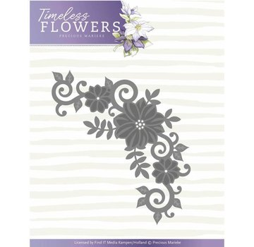 Precious Marieke cutting and embossing template:  Flower corner, Size 11,4 x 7 cm