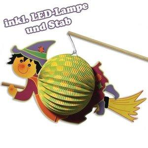 Kinder Bastelsets / Kids Craft Kits Laternen-Set Hexe, 20cm ø, 35cm, inkl. Stab+LED-Lämpchen