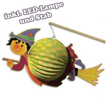 Kinder Bastelsets / Kids Craft Kits Lanterna-Set strega, 20 cm ø, 35 cm, inclusa lampada + lampada a LED