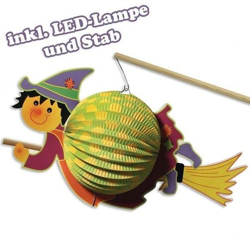 Kinder Bastelsets / Kids Craft Kits Lantern-Set witch, 20cm ø, 35cm, incl. Stick + LED-lamp