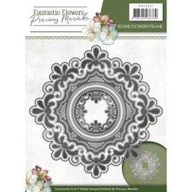 Precious Marieke plantilla de corte y estampado: marco de flores redondas