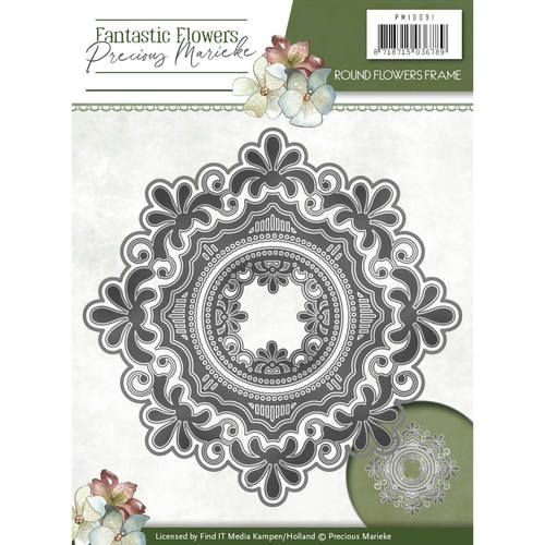 Precious Marieke cutting and embossing template:  Round flowers frame
