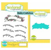 Taylored Expressions Punching templates + timbre: Bannière avec texte anglais
