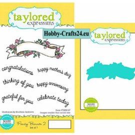 Taylored Expressions Plantillas de perforación + sello: pancarta con texto en inglés