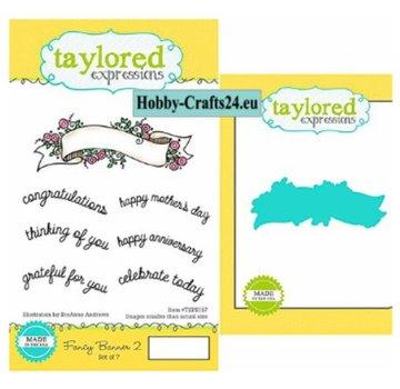 Taylored Expressions Stanzschablonen + Stempelmotive: Banner mit Text Englisch