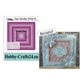 Crealies und CraftEmotions Gabarits de perforation, 12 carrés avec double couture, plus grand format: 13 x 13 cm