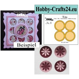 CREATIVE EXPRESSIONS und COUTURE CREATIONS Cutting and embossing Template: 4 round frames with stitchlines