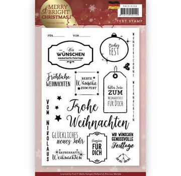 Precious Marieke Transparante stempel: Kerstmis, Duitse teksten en labels