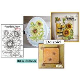 Crealies und CraftEmotions Gummi Stempel: Sonnenblumen