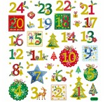 STARS, numbers, snowflakes and wintry designs
