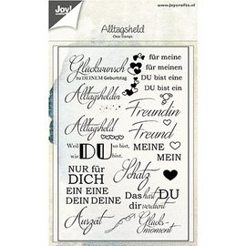 Joy!Crafts / Jeanine´s Art, Hobby Solutions Dies /  Timbre transparent avec des textes allemands