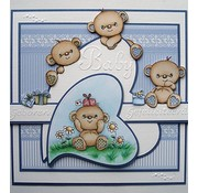 STEMPEL / STAMP: GUMMI / RUBBER Transparent stempel: Happy Birthday Bears