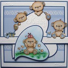 STEMPEL / STAMP: GUMMI / RUBBER Gennemsigtigt frimærke: Happy Birthday Bears