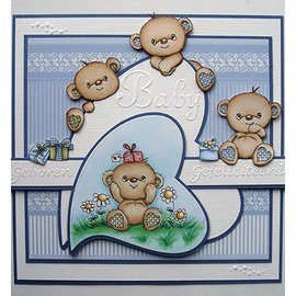 STEMPEL / STAMP: GUMMI / RUBBER Transparante stempel: Happy Birthday Bears