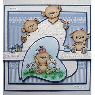 STEMPEL / STAMP: GUMMI / RUBBER Transparante stempel: Happy Birthday Bears