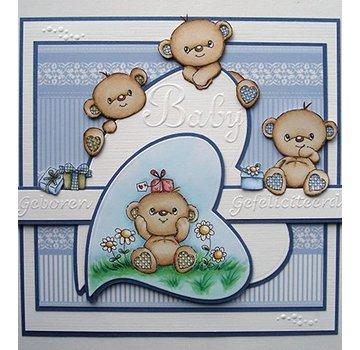 STEMPEL / STAMP: GUMMI / RUBBER Timbro trasparente: Happy Birthday Bears