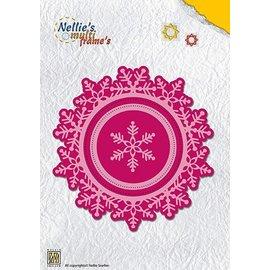 Nellie Snellen Stanzschablone, 2 Schneeflocken + 3  runde Rahmen