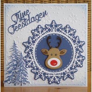 Nellie Snellen Ponssjabloon, 2 sneeuwvlokken + 3 ronde frames