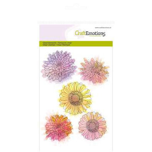 Crealies und CraftEmotions Transparante stempel, A6, chrysanthemum bloem