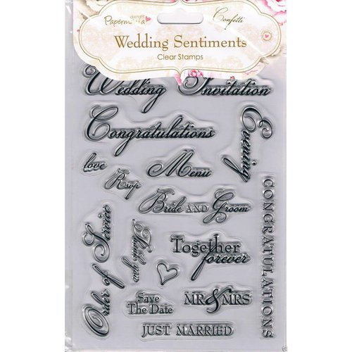 Docrafts / Papermania / Urban Transparent Stamp, A5, Wedding Sentiments