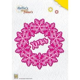 Nellie Snellen Ponssjabloon, 2 sneeuwvlokken + 3 ronde frames - Copy