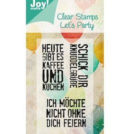 Joy!Crafts / Jeanine´s Art, Hobby Solutions Dies /  Sello de motivo, transparente: A6, Let's Party (textos alemanes)