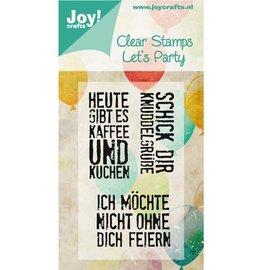 Joy!Crafts / Jeanine´s Art, Hobby Solutions Dies /  Selo com motivo, transparente: A6, Let's Party (textos em alemão)