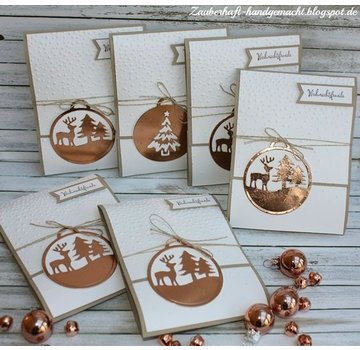 CUTIES Stamping- and pre-template: ball with reindeer and star