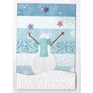 Penny Black Die skære skabelon: Happy snowman, størrelse: 6,5 x 7 cm