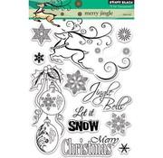 Penny Black Motiefstempel, rendier, kerstballen, ijskristallen