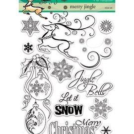 Penny Black Sello de motivo, reno, bolas de Navidad, cristales de hielo