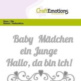 Spellbinders und Rayher Punzonado de plantillas: texto alemán: texto de bebé