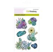 Crealies und CraftEmotions Motif stamp, transparent, A6, succulent cactus Botanical Nature