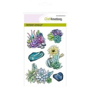 Crealies und CraftEmotions Motivstempel, gennemsigtig, A6, saftigt kaktus Botanisk Natur