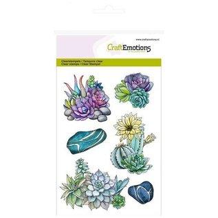 Crealies und CraftEmotions Motiefstempel, transparant, A6, succulent cactus botanische natuur