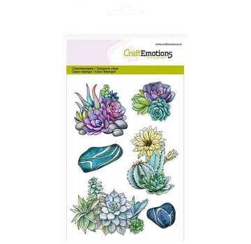 Crealies und CraftEmotions Motivstempel,  transparent, A6, Kaktus saftig Botanical Nature
