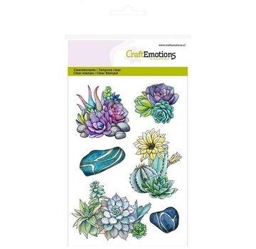 Crealies und CraftEmotions Timbre à motifs, transparent, A6, cactus succulent Botanical Nature