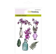 Crealies und CraftEmotions Motif stamp, transparent, A6, orchid vase