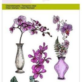 Crealies und CraftEmotions Motivstempel, gennemsigtig, A6, orkideevase