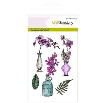 Crealies und CraftEmotions Timbro a motivi, trasparente, A6, vaso di orchidee