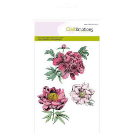 Crealies und CraftEmotions Motif stamp, transparent, A6, peonies