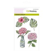 Crealies und CraftEmotions Motif stamp, transparent, A6, Hortensia with bottle