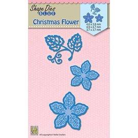 Nellie Snellen Plantilla de perforación, rosa de Navidad (estrella de Navidad)